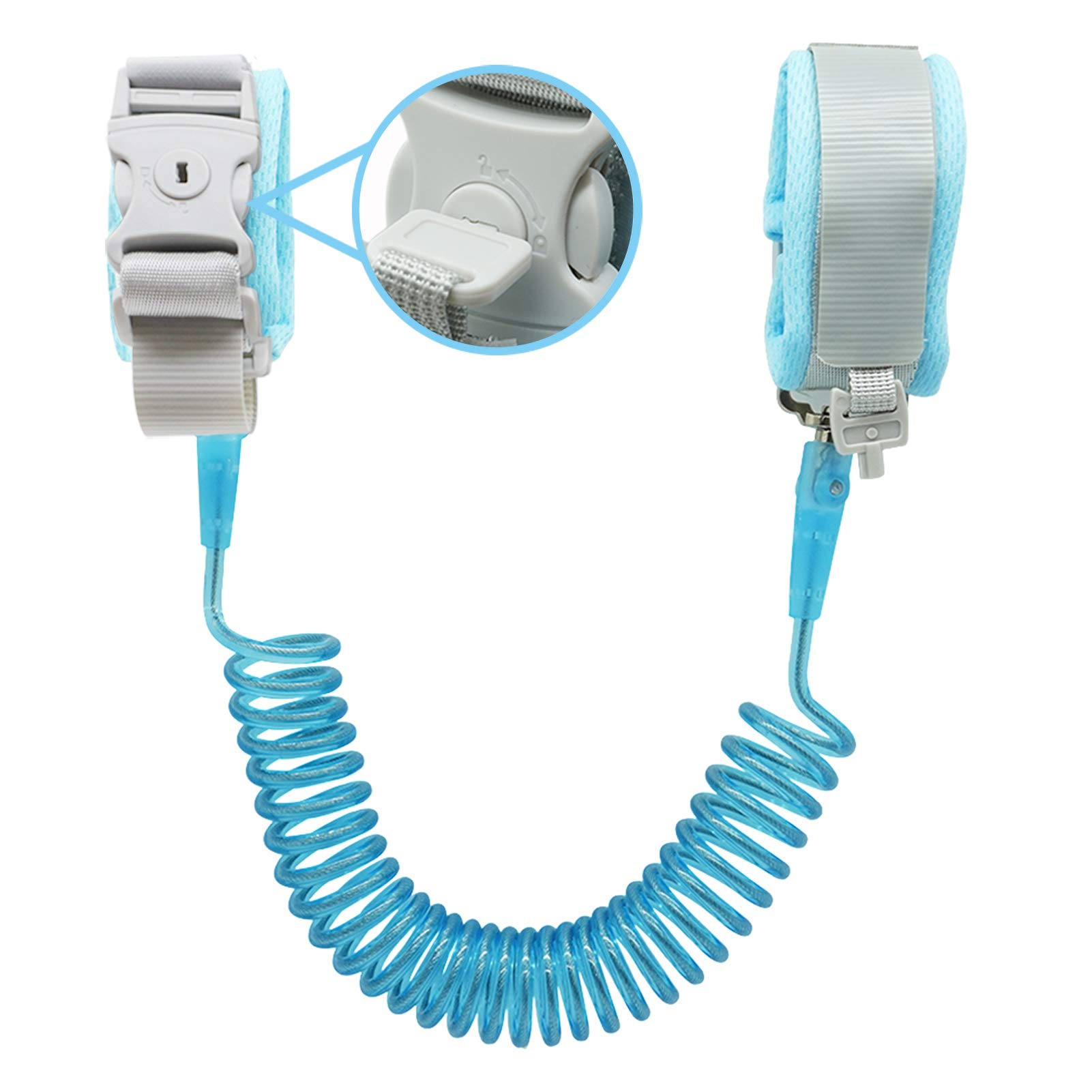 Anti Lost Wrist Link (8.2ft), Socub Breathable Toddler Leash Wrist for Child Safety, Wrist Link for Kids with Key Lock, Blue