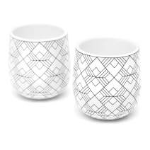 Double Walled Espresso Cups, Dobbelt Set of 2, 2 Ounce, Square Pattern - Insulated Ceramic Cups for Latte, Cappuccino, Tea - Modern, Contemporary, Art Deco Design - Box Set, by Kop & Hagen
