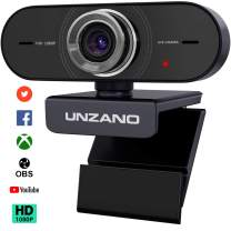 Unzano Webcam for Streaming HD 1080P - Computer Camera PC Laptop Mac Web Cam with Microphone for Gaming, Video Calling, Recording, Conferencing/Dual Mic, USB Plug & Play, 360 Degree Rotatable