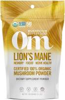 Om Organic Mushroom Superfood Powder, Lions Mane, 3.5 Ounce (50 Servings), Memory Support, Focus, Clarity & Nerve Health Supplement