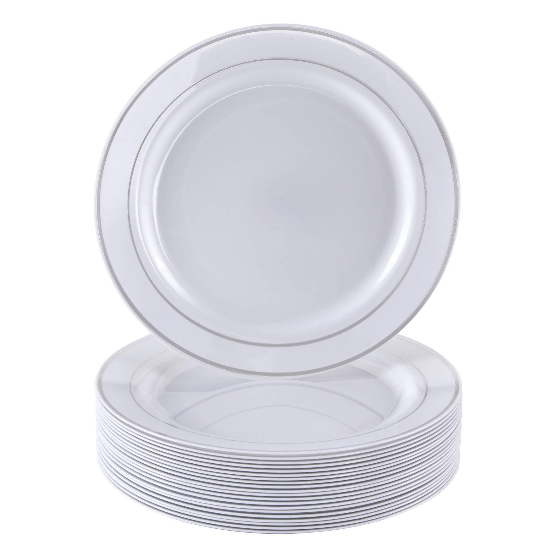 "DISPOSABLE DINNERWARE SET, 20 Plastic Dessert Plates (Silver Glare, 7.5"")"