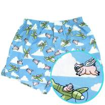 ROCK ATOLL Men's Flying Pigs in Airplanes Patterned Boxer Shorts in Blue S-XXL