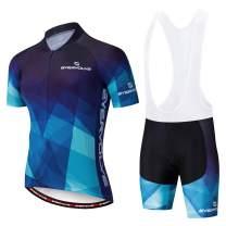 Vgowater Evervolve Men's Cycling Jersey White Bib Shorts Set Biking Bib Suits