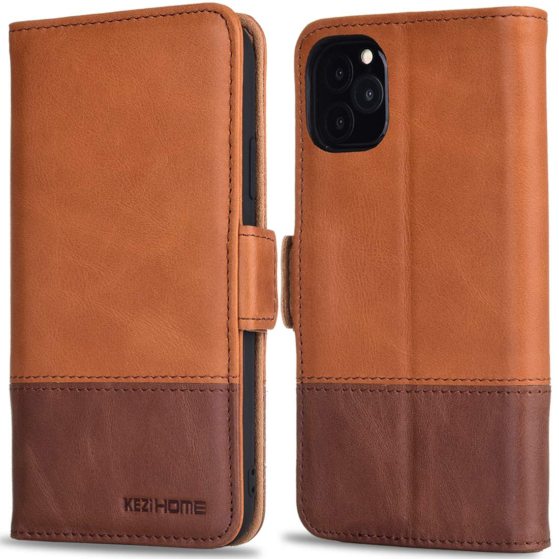 KEZiHOMEiPhone 11 Pro Max Case 6.5 inch, Genuine Leather Wallet Case Flip Magnetic Cover RFID Blocking Card Slots Kickstand Shockproof Case Compatible with iPhone 11 Pro Max 6.5 inch (Khaki/Brown)