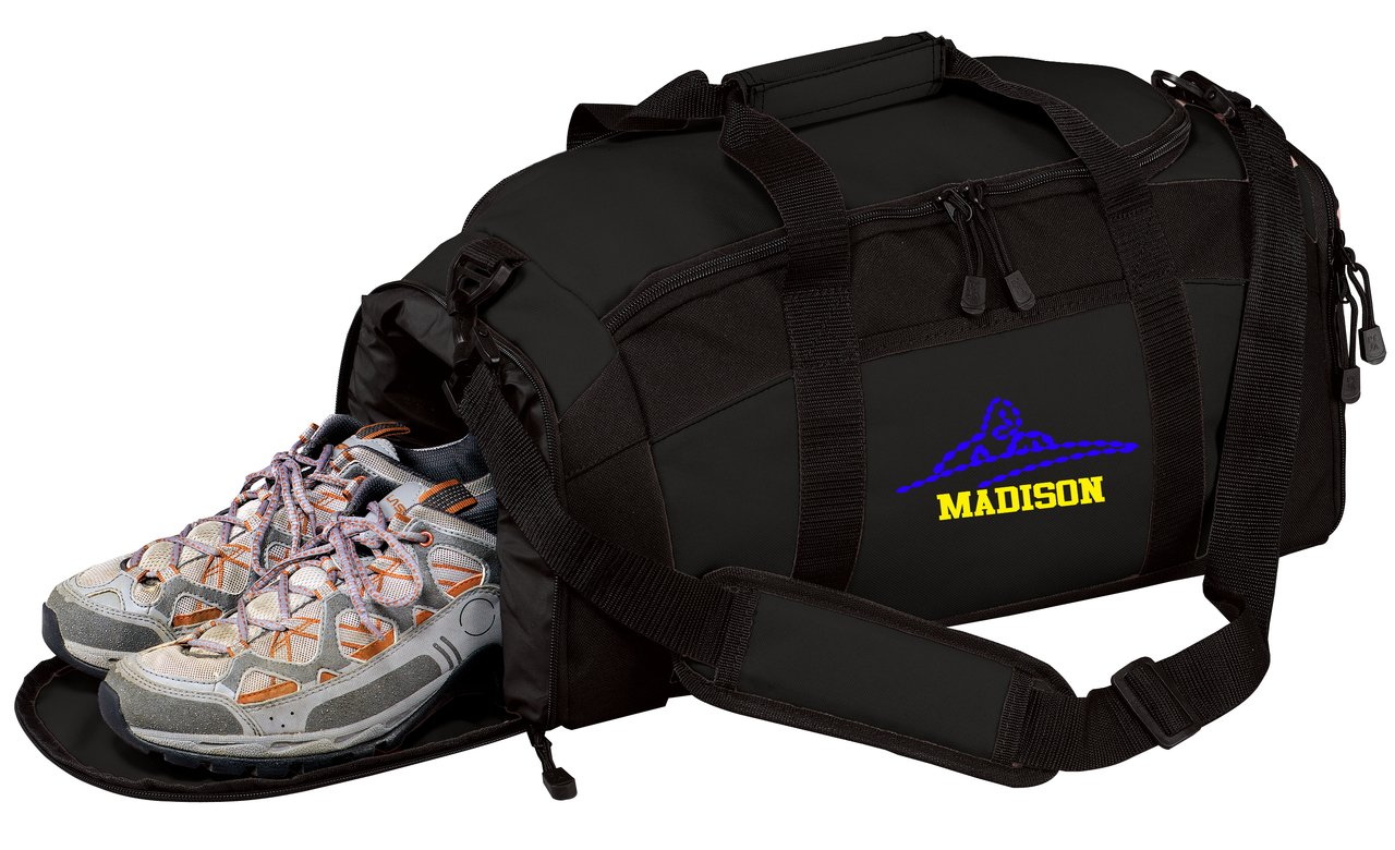 Personalized Swimming Gym Duffel Bag with Custom Text   Sports Bag with Customizable Embroidered Monogram Design (Black)