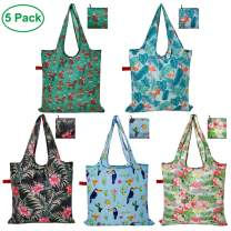 CALACH Grocery Bags Reusable Foldable Shopping Bags 5 Pack Large Cute Groceries Totes with zip pouch Waterproof Machine Wash Ripstop Eco-Friendly (Mixed Bags)