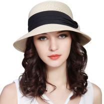Lanzom Women Wide Brim Straw Foldable Roll up Cap Fedora Beach Sun Hat UPF50+