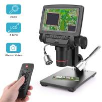 LCD Digital Microscope 5 inch 260X Magnification with Remote Control,HD 1080P Handheld Camera Video Recorder,8 Adjustable LED Light and 2 Fill Light