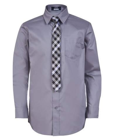 Arrow 1851 Boys' Aroflex Long Sleeve Stretch Dress Shirt with Tie