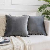 JUSPURBET Decorative Velvet Pom Poms Throw Pillow Covers Set of 2,Soft Solid Pillow Case for Sofa Couch Bedroom,26x26 Inches,Grey