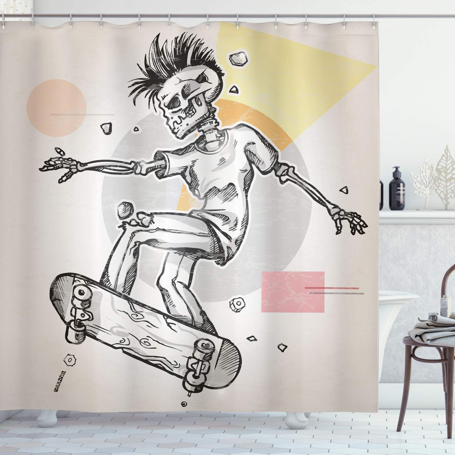 """Ambesonne Skull Shower Curtain, Punk Rocker Skeleton Boy on a Skateboard Skiing with Abstract Background, Cloth Fabric Bathroom Decor Set with Hooks, 75"""" Long, Grey Cream"""