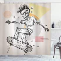 "Ambesonne Skull Shower Curtain, Punk Rocker Skeleton Boy on a Skateboard Skiing with Abstract Background, Cloth Fabric Bathroom Decor Set with Hooks, 84"" Long Extra, Grey Cream"