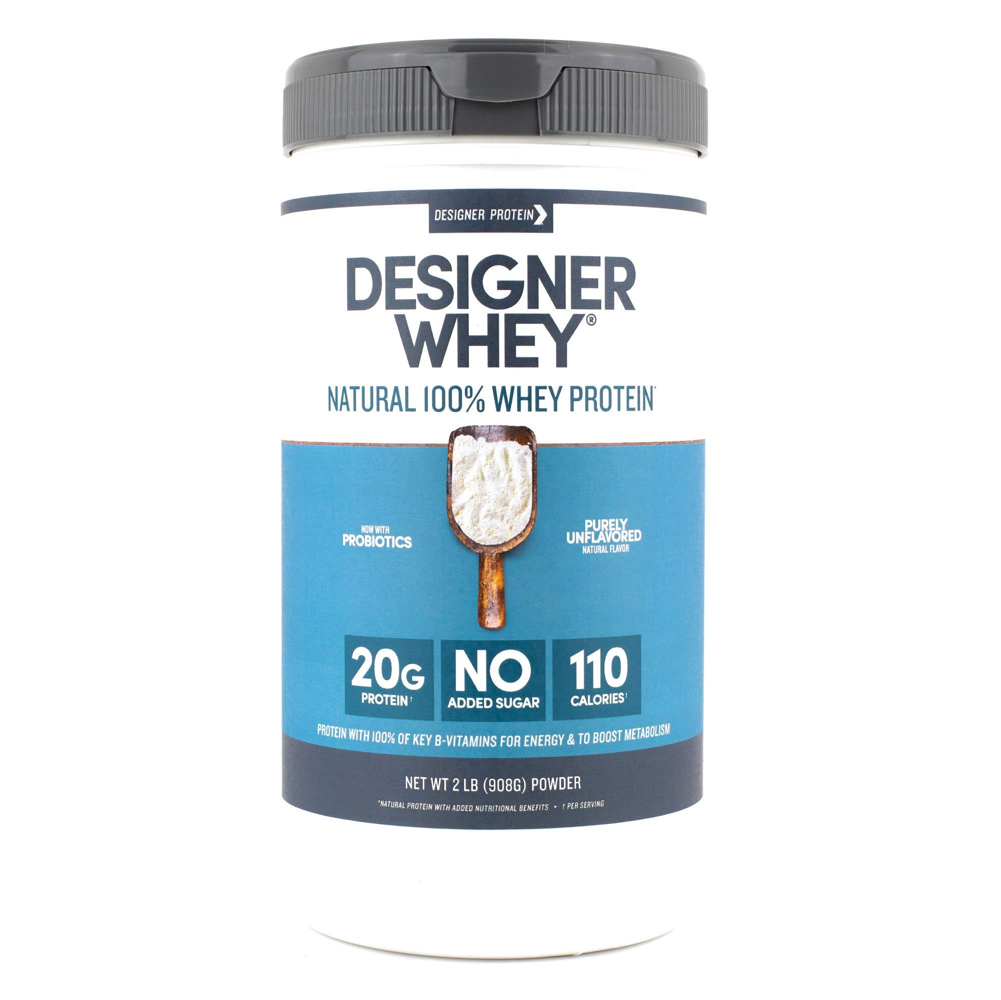 Designer Whey Protein Powder, Purely Unflavored, 2 Lb, Non GMO, Made in USA