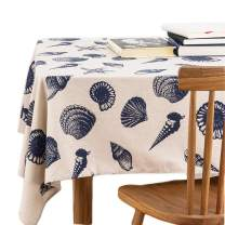 Bringsine Washable Square Cotton Linen Starfish Shell Conch Print Tablecloth, Vintage Dinner Picnic Table Cloth Home Decoration (Square, 24 x 24 Inch)