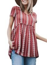 Asvivid Womens Boho Floral Printed Summer V Neck Short Sleeve Shirt Peplum T-Shirt Blouse Tops