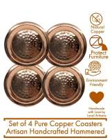 Set of 4 Copper Handcrafted Hammered Artisan Coasters - Use with Moscow Mule Mugs and Glasses, Made of Solid Copper Coaster Set (Outer: 3.5 in, Inner: 2.5 in)