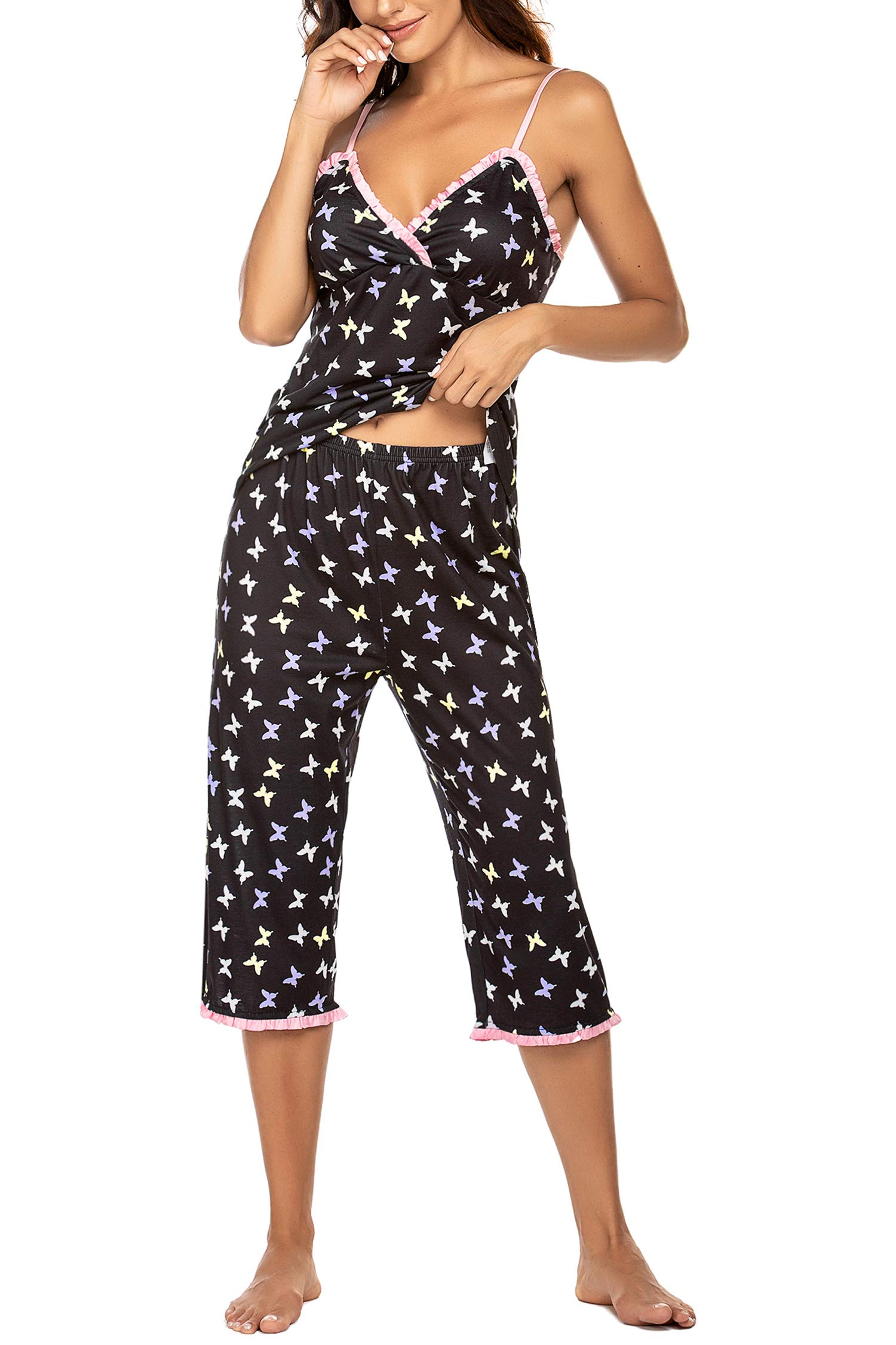 Hotouch Womens Pajamas Set V-Neck Printed Cami Top and Capris Pants Sleepwear Pjs Set S-XXL
