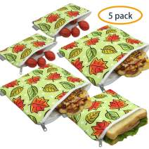 Reusable Sandwich Bags Snack Bags - Set of 5 Pack, Dual Layer Lunch Bags with Zipper, Dishwasher Safe, Eco Friendly Food Wraps, BPA-Free. (Autumn)