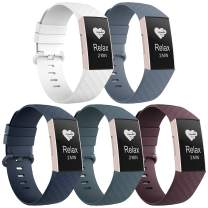 Recoppa 5 Pack Compatible with Fitbit Charge 3 Bands for Women Men, Waterproof Sport Replacement Wristbands Compatible for Fitbit Charge 4/Fitbit Charge 3 SE