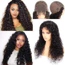 Glueless Water Wave Wig Lace Closure 4 By 4 100% Human Hair Lace Front Wigs Glueless Free Part With Baby Hair 8a Brazilian Closure Wig Wet And Wavy Dark Brown Cheap 24 Inch