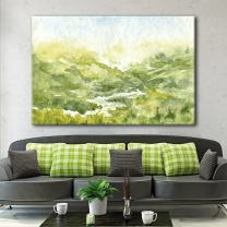 wall26 Canvas Wall Art - Watercolor Style Mountain Valley Green Grass in Spring - Giclee Print Gallery Wrap Modern Home Decor Ready to Hang - 24x36 inches