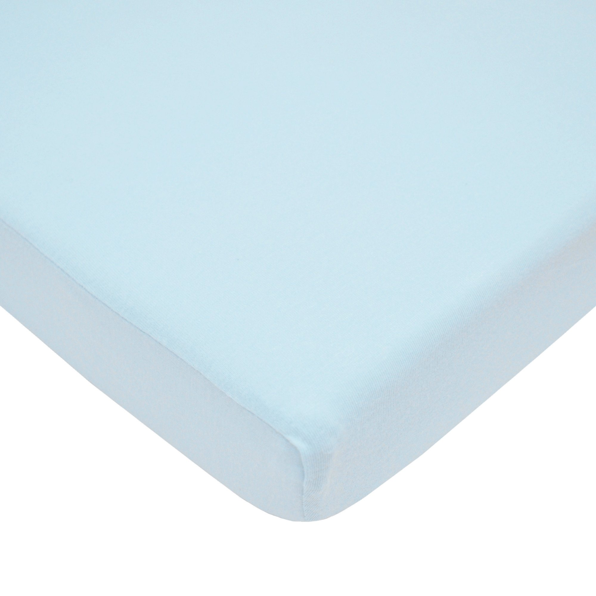 American Baby Company 100% Natural Supreme Cotton Jersey Knit Fitted Portable/Mini-Crib Sheet, Blue, Soft Breathable, for Boys and Girls