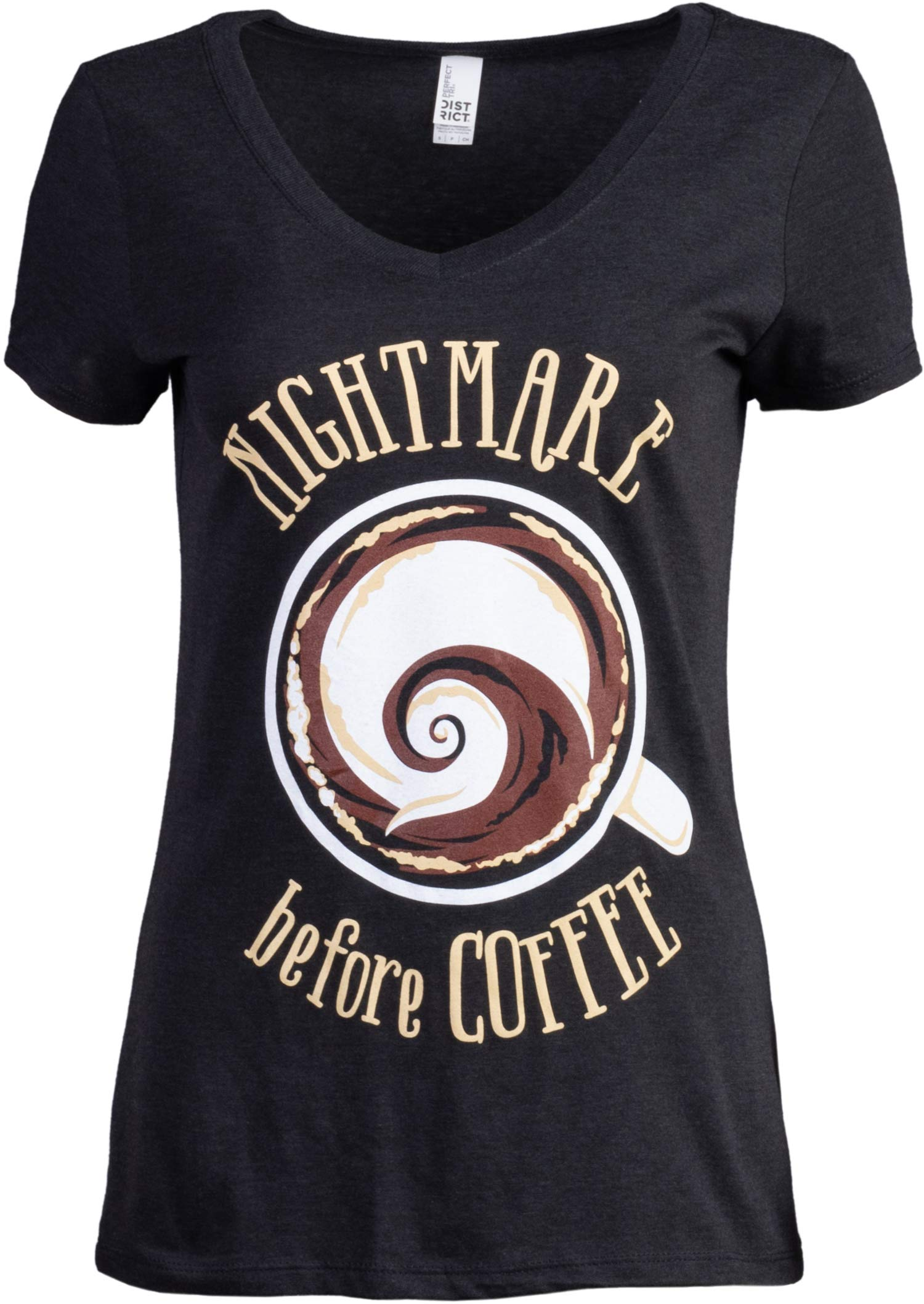 The Nightmare Before Coffee | Funny Cute Saying Women's Cafe Mug Drinker V-Neck T-Shirt