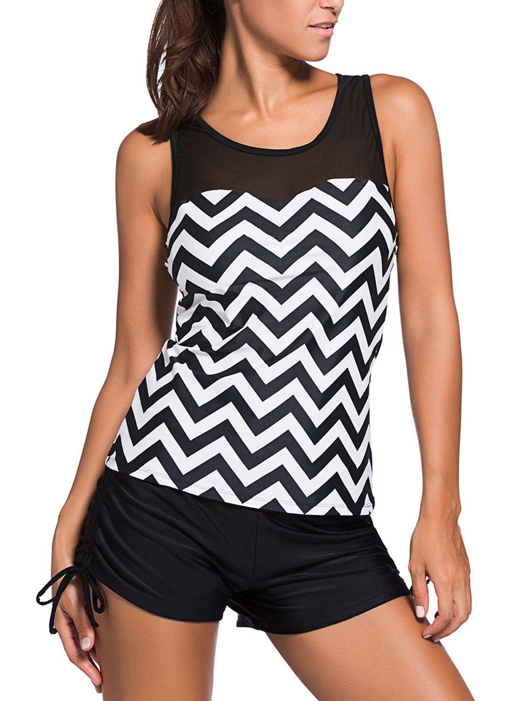 Zecilbo Women Stripes Print Sporty Tankini Sets Double Up Layered Two Piece Swimsuits S-XXXL