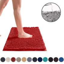 DEARTOWN Non-Slip Shaggy Bathroom Rug (Red,24X39 Inches),Soft Microfibers Chenille Bath Mat with Water Absorbent, Machine Washable