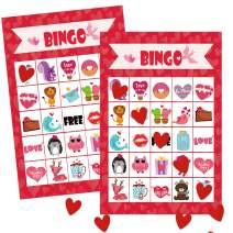 Unomor Valentine's Day Bingo Games for Kids - Bingo Cards with 24 Players for Valentine Party Games, Valentine Crafts School Classroom Activities, Party Favors Supplies