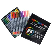 Super Markers 24 Color Brush Tip & Fineliner Twin Tip Marker Set 0.7mm Fineliner Tip & Fine Artist Brush Tip Markers with 24 Vibrant and Bold Colors