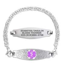 Divoti Custom Engraved Medical Alert Bracelets for Women, Stainless Steel Medical Bracelet, Medical ID Bracelet w/Free Engraving – Beautiful Olive Tag w/Handmade Byzantine – Color/Size