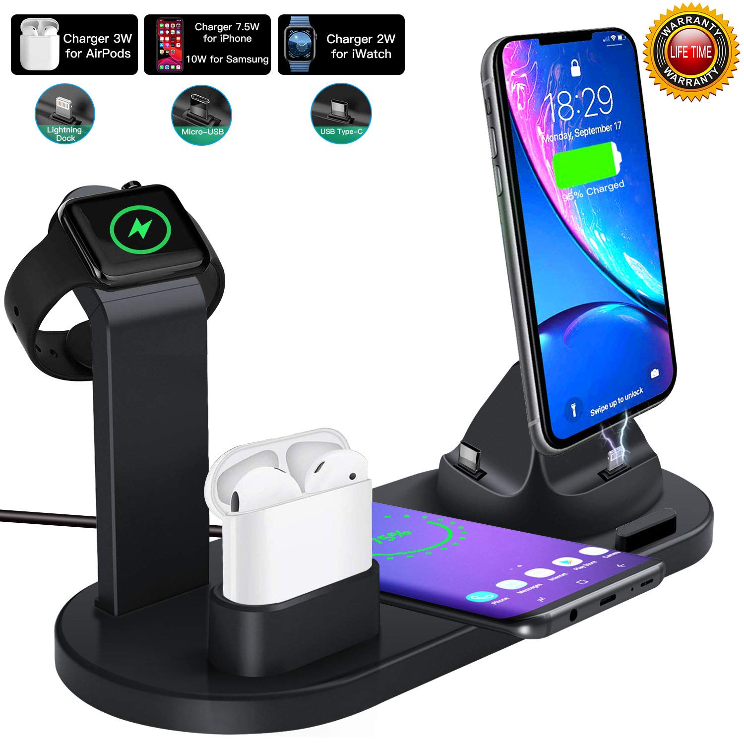 10W Fast Wireless Charger, 4 in 1 Qi Wireless Charging Stand, Multiple Devices Wireless Charger Dock Station for iPhone 11/11 Pro/11 Pro Max/8/8 Plus/X/Xs/XR/Xs Max/Airpods/iWatch/Samsung S10/S10+