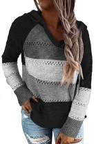 Womens Spring Stripes Color Block Knit Hoodies Sweaters Lightweight Drawstring Loose Pullover Sweatshirts