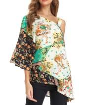 VZULY Women's Summer One Shoulder Tops Loose Sexy Print Irregular Hem Tunic Blouses