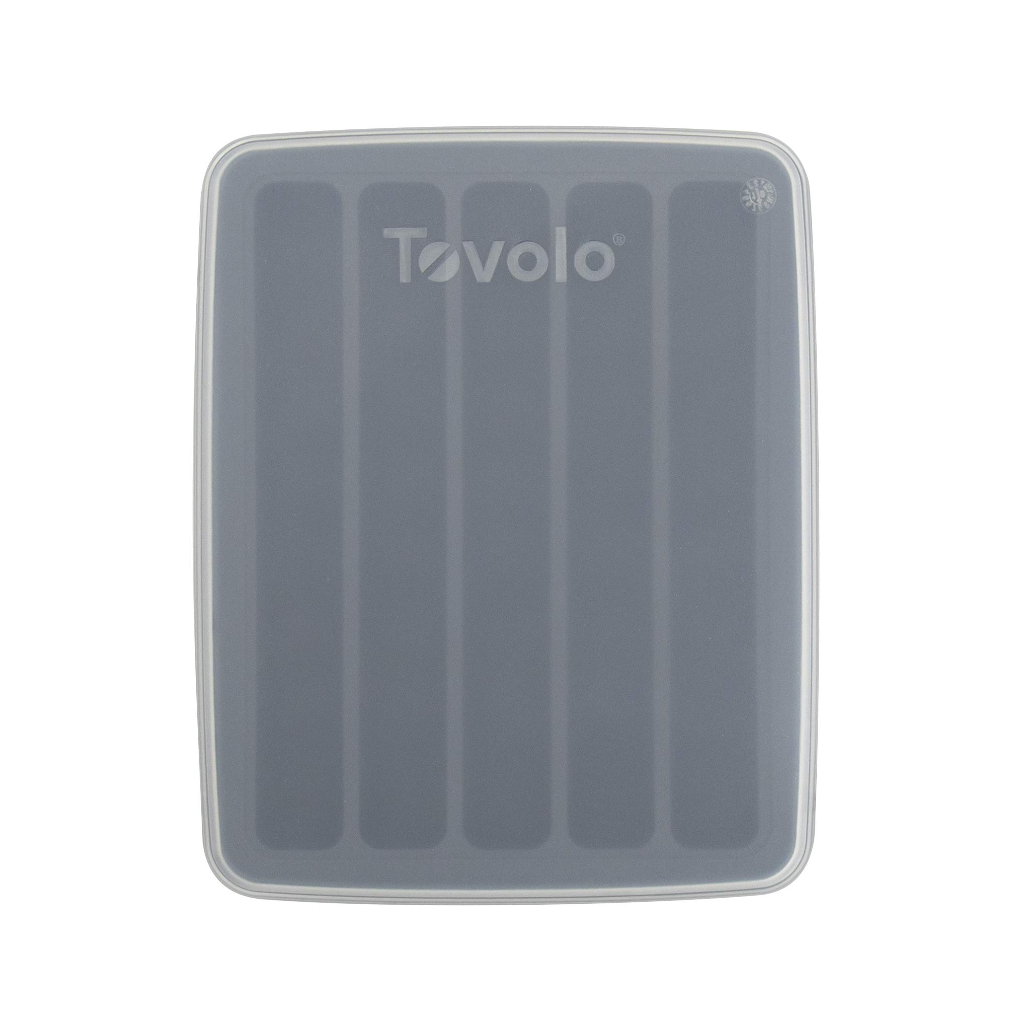 Tovolo Water Cube Silicone Narrow Ice Mold Freezer Tray Makes 5 Frozen Slim Rod Sticks for Sports, Bottled Soda & Beverages, Includes Lid Cover for Stacking, 1 EA, Frost/Charcoal