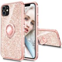 Maxdara Phone Case for iPhone 11 Case Women Girls Glitter Ring Kickstand with Bling Sparkle Diamond RhinestoneStand Holder Protective Pretty Phone Case for iPhone 11 6.1 inches(Rosegold)