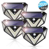 Solar Lights Outdoor, 109 LEDs Newest Upgraded 270° Five-Sided Wider Angle, Solar Motion Sensor Lights with 3 Modes, Solar LED Lights for Fence Garage Yard Driveway Garden Patio(4 Pack)