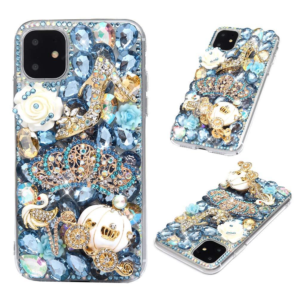 iPhone 11 Case - Mavis's Diary 3D Handmade Luxury Bling Blue Crown Golden Pumpkin Car High-Heeled White Swan Rose Shiny Crystal Diamonds Glitter Rhinestones Gems Clear Hard PC Cover