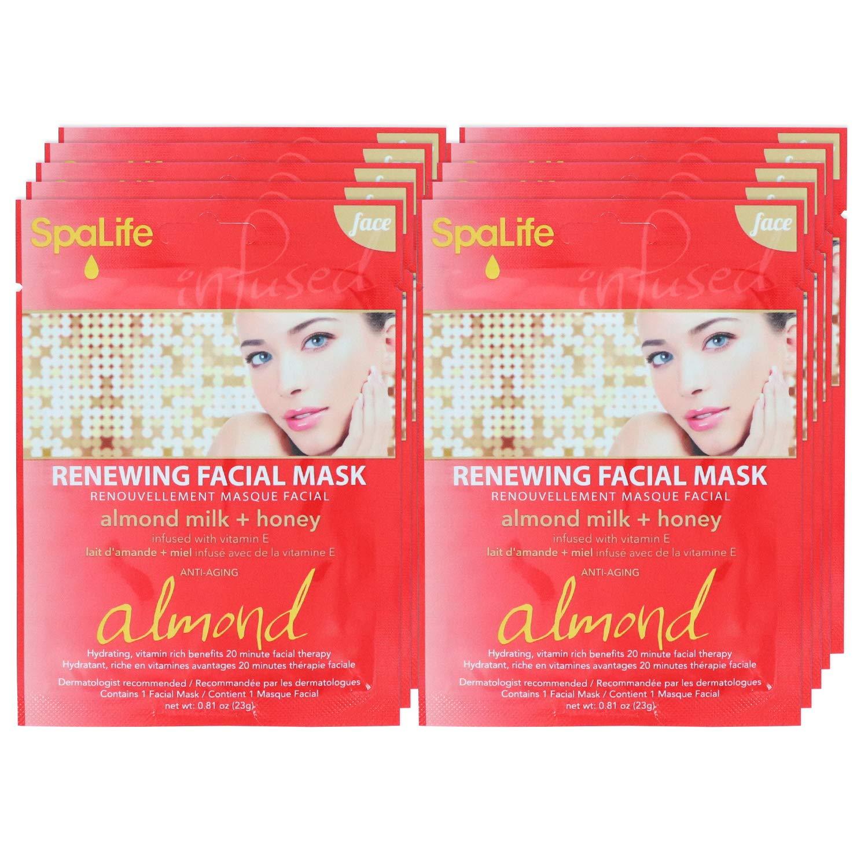 SpaLife Hydrating, Purifying, Anti-Aging, Detoxifying and Soothing Korean Facial Masks - 10 Masks (Almond Milk + Honey)