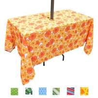 Eternal Beauty Polyester Outdoor Tablecloth Rectangular Spillproof with Umbrella Hole Zipper for Spring Summer Patio BBQ (Sunflower, 60x120inch)