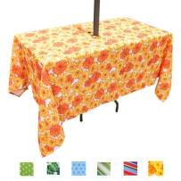 Eternal Beauty Polyester Outdoor Tablecloth Rectangular Spillproof with Umbrella Hole Zipper for Spring Summer Patio Picnic BBQ (Sunflower, 60x84inch)