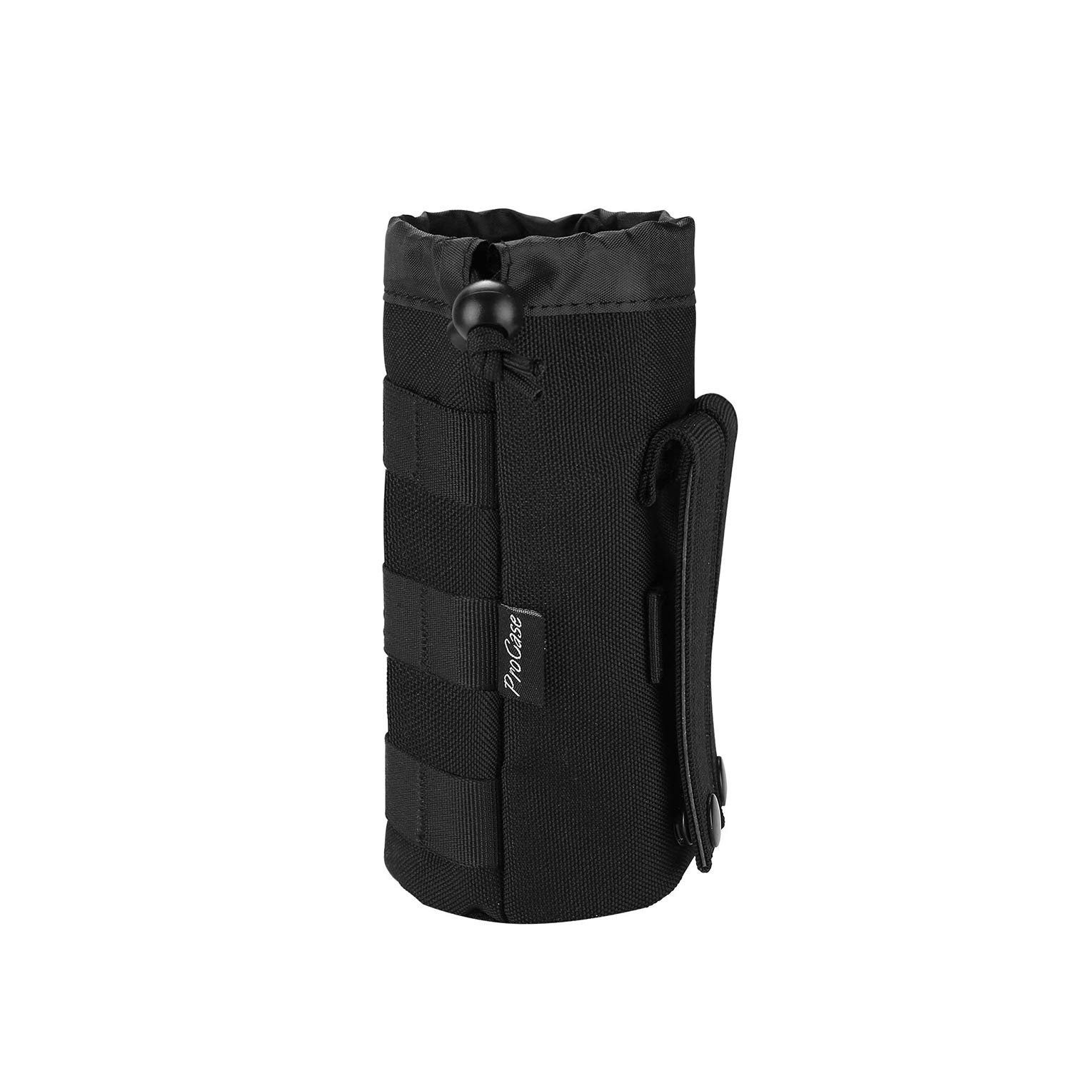 Procase Tactical Molle Water Bottle Pouch, Military Bottle Holder with Top Drawstring & Mesh Bottom, Portable Water Container Pouch Bag Hydration Carrier for Camping Hiking Hunting Traveling –Black