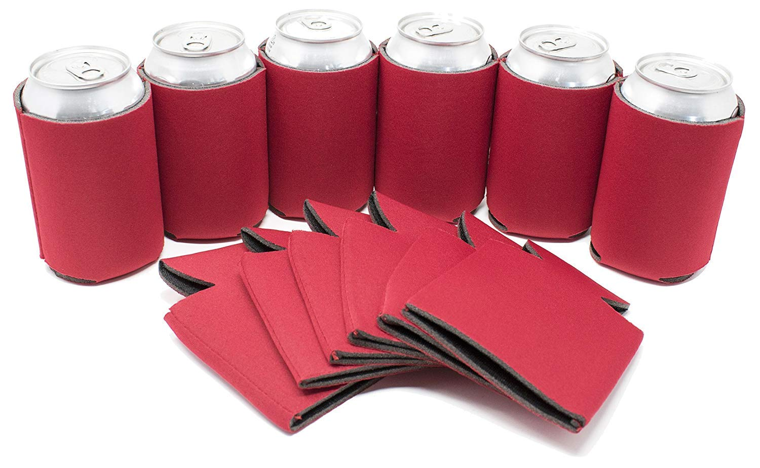 TahoeBay 25 Blank Beer Can Coolers, Plain Bulk Collapsible Soda Cover Coolies, DIY Personalized Sublimation Sleeves for Weddings, Bachelorette Parties, Funny HTV Party Favors (Red, 25)