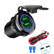 Nilight Dual USB Port QC 3.0 Fast Charging Hubs USB Charger Socket Power Outlet 2.1A & 2.1A x2 for Car Boat Marine RV Mobile with Wire Fuse DIY Kit with Lightly Blue LED