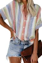 Pink Queen Women's Colorful Stripes Blouses Loose Button Up Summer Casual Shirts Tops