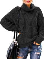 OHDREAM Womens Plus Size Turtleneck Sweater Cowl Neck Chunky Knit Batwing Long Sleeve Winter Pullover Sweaters Jumper