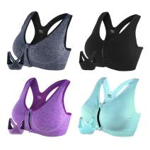 B.BANG Women's Zipper Front Sports Bra Wirefree Active Yoga Seamless Bra with Removble Pads