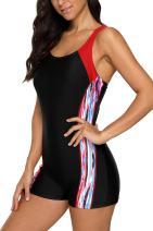 Vegatos Women Boyleg One Piece Swimsuit Athletic Racerback Swimwear Bathing Suit