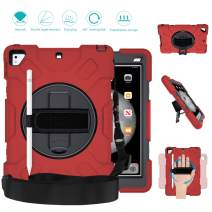 GROLEOA iPad 5th 6th Generation Case Anti-Drop Rugged Protective iPad 2018/2017 9.7 Case 360 Rotation Stand+Hand Strap+Shoulder Strap+Pencil Holder Case for iPad 5th 6th Air 2 Pro 9.7 (Black+Red)